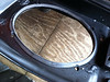 Underside of hard saddlebag lid before speaker installation
