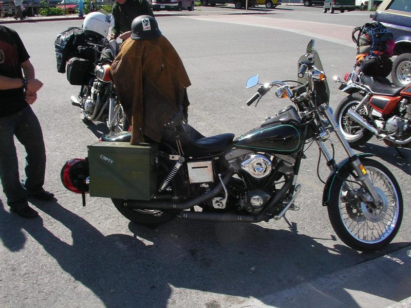 One of a trio of vintage bikes seen in Valdez ridden by a father, daughter and her boyfriend from Anchorage, Alaska - CO2AK08