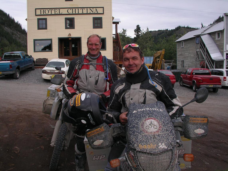 "Couple of German riders (Volker and Hans  <a href=""http://www.ride-of-change-2008.de"">http://www.ride-of-change-2008.de</a>) in Chitina, Alaska - CO2AK08"