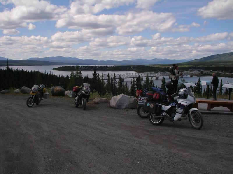 Guido, Gabe, and Simon checking out the bridge across the Teslin River, Yukon  - CO2AK08