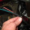 Cutting throttle side wiring. Again, offset splices to avoid lumps.