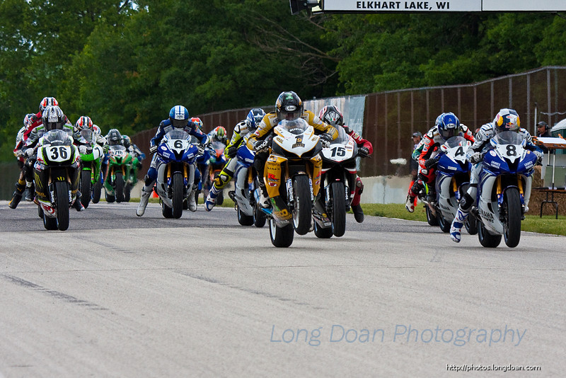The start of the second Daytona Sportbike race.