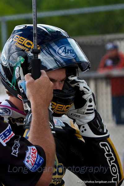 Danny putting on his helmet before the race.