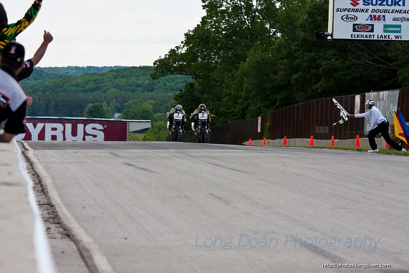 Danny Eslick edges out Jake Holden for the win at the inaugural race of the XR1200 series. June 6th, 2010 at Road America.