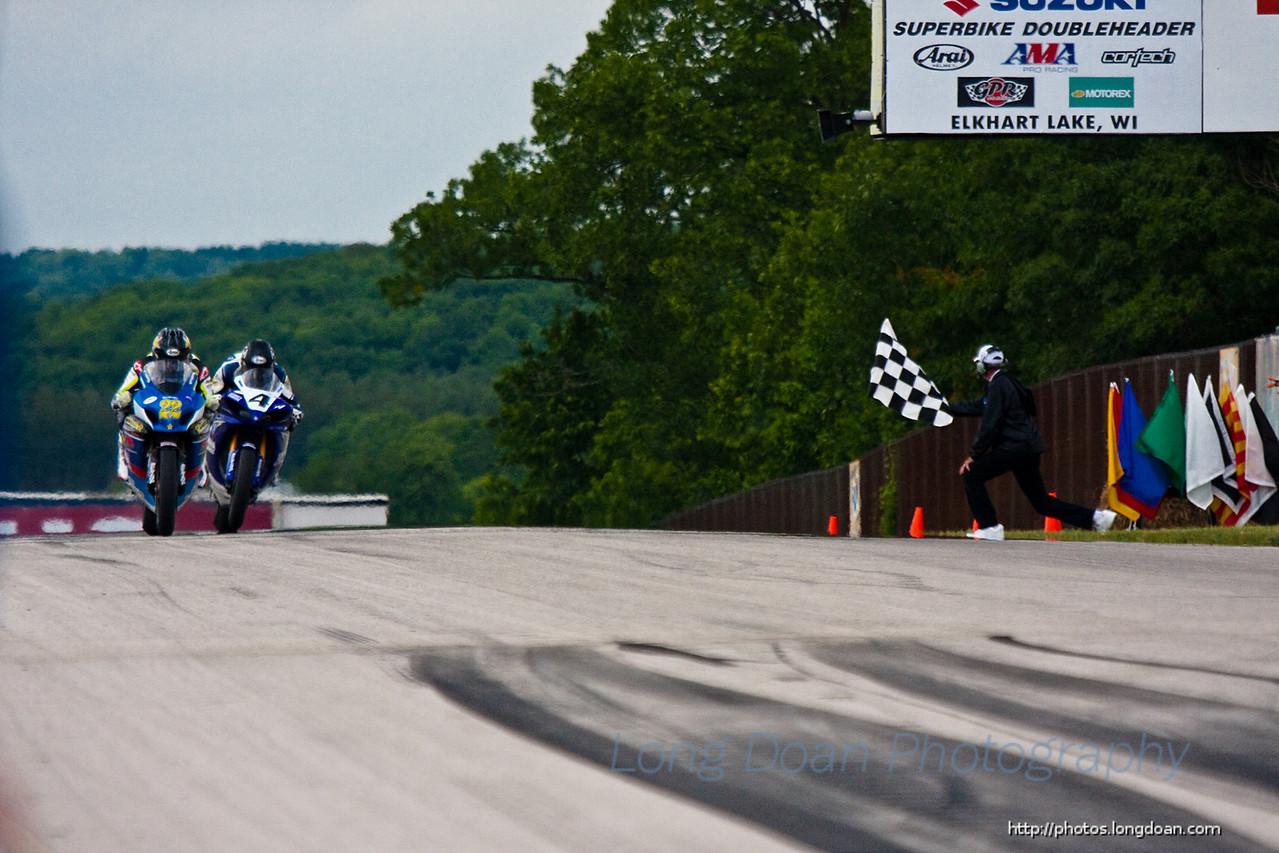 Winning the second American Superbike race.