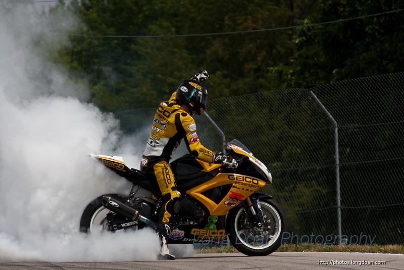 Danny doing a burnout after winning race #2.