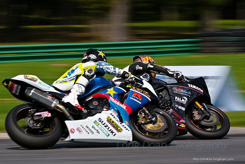 Ben passing Tommy in turn 4 at the final lap of the American Superbike race #1.