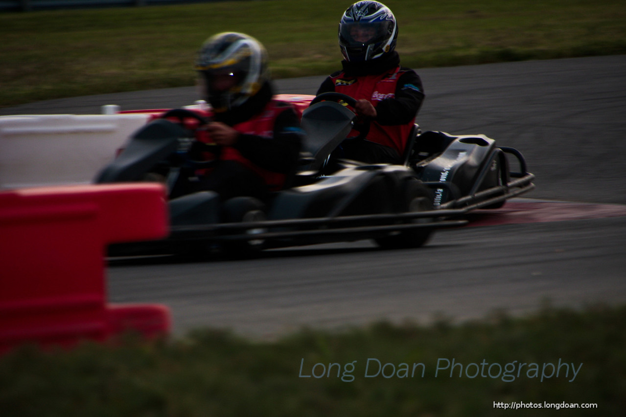 Team AMA and Team Speed battling it out on the Kart track.