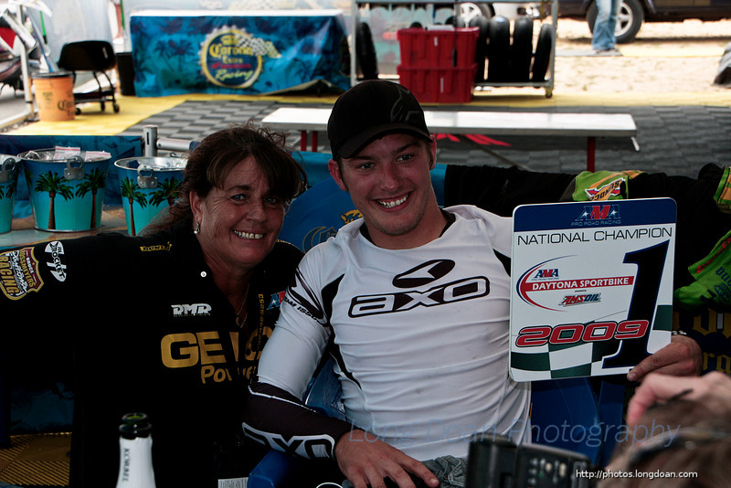 Danny Eslick and his Mom after winning the championship at New Jersey Motorsports Park in Millville, NJ.