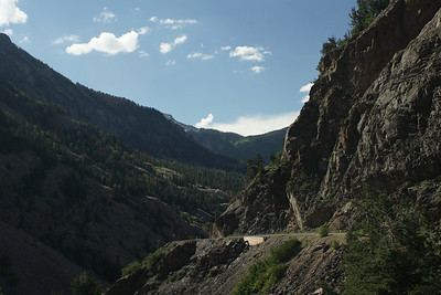 Million Dollar Highway between Ouray and Silverton.  A friend told me earlier this summer that he wasn't really afraid of heights.....but some of those roads just aren't wide enough.