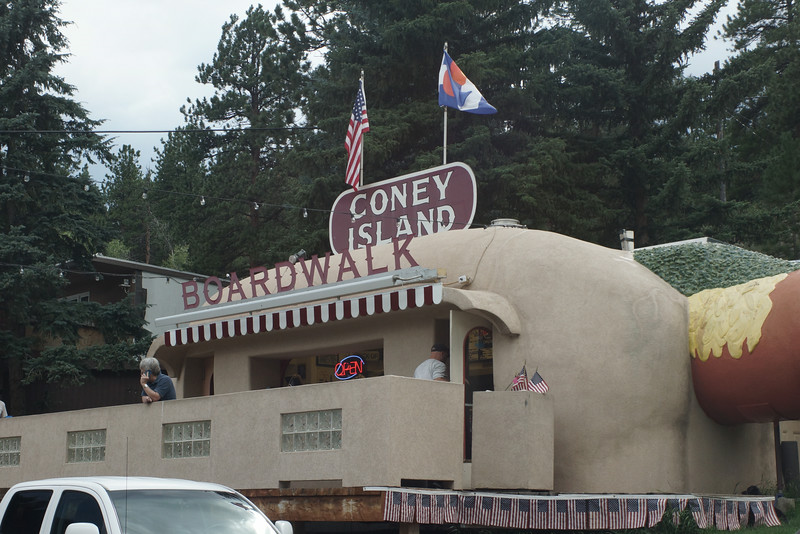 "A man approached me at a gas station in Nebraska asking where we were headed.  When we said Colorado, he said something like...""DUDE, if you get onto 285 and the town of Bailey, you gotta stop at this little hotdog stand that looks like a hotdog!""  Well, we did get onto 285 on our return to Silverthorne from Pikes Peak and came across this.  Pretty good hotdog, I should add."