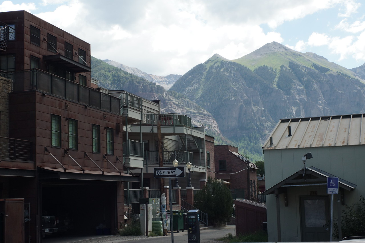 Our view from the porch of a bakery along a backstreet in Telluride, Colorado.