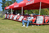 Joe Doman takes a break to watch the races from Ducati Corner