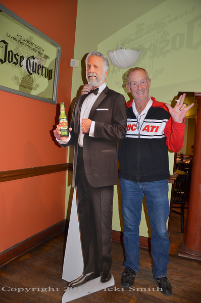 Cook Neilson (who is actually the most interesting man in the world) posing with a cardboard cutout of the other MIMITW