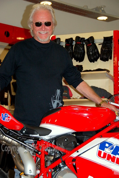 And happy to pose (and autograph) the Parts Unlimited Ducati that bears his logo.