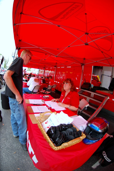 Stefanie Carson mans the sign up desk, most rides were full, she was in charge of organizing who rode what and when