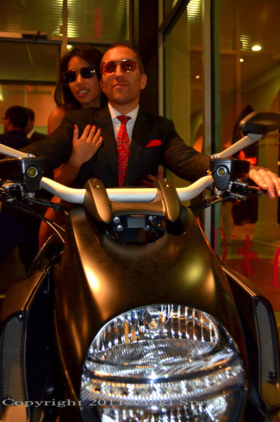 That's Duncan Quinn on a Ducati Diavel.  He's a true Ducati guy (so yes, his taste is clearly impeccable in every way)