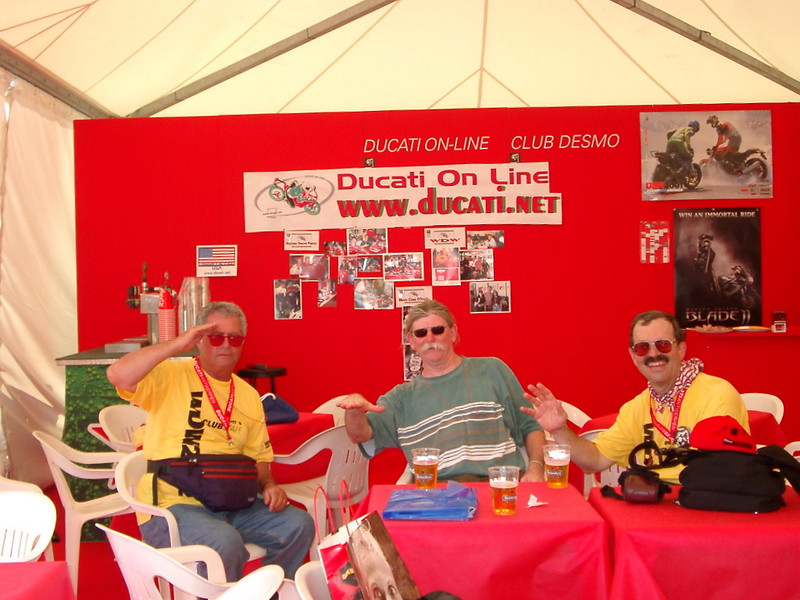 World Ducati Week, Misano Circuit, 2001?  Guy Webster, Mike Gontesky and Jim in the Ducati.net booth.