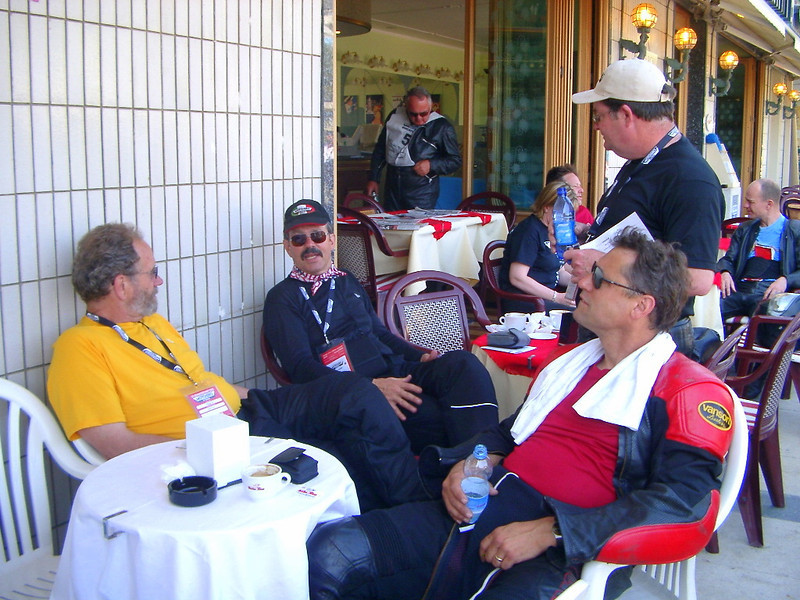 Cattolica, Day 1, waiting for the start of another wonderful Italian adventure. Frank Smith, Jim and Chris Jensen