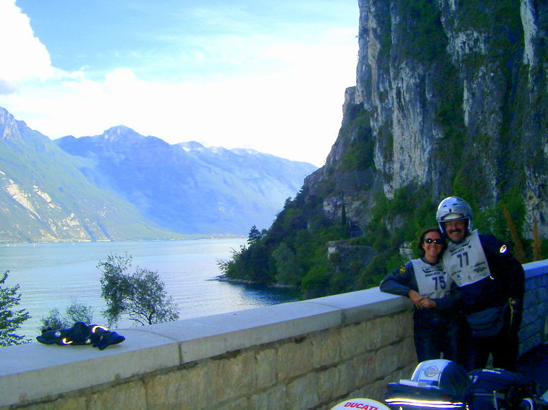 Jim and Vicki, on the Motogiro d'Italia. Lago Garda, Italy