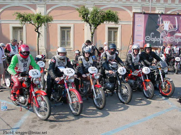 Motogiro year two.  This photo was taken by several people and got used all over the world.  It's probably the most famous of all the modern giro pics.  What's funny is the end bike is a Monster S4 modern Ducati.....