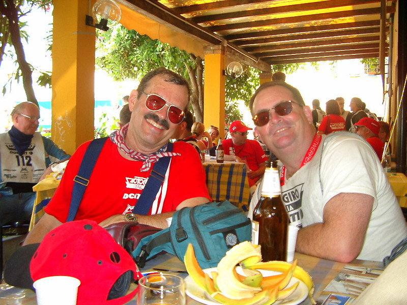 Jim and Rick Hammond at Motogiro end, the hot year.  I can still remember how great that melon was (like epic great). Really hot weather must be the third ingredient in melon and prosciutto