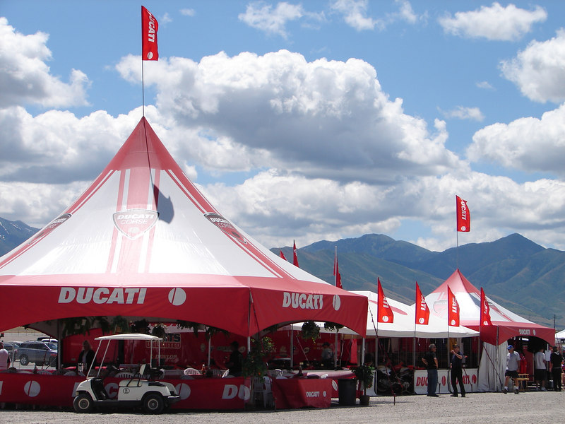 "Ducati North America's ""Ducati Village"" was home to any Ducati owner that attended."