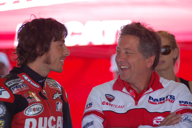 Ben shares a light moment after qualifying with Terry Gregoricka, Ducati Parts Unlimited team owner.