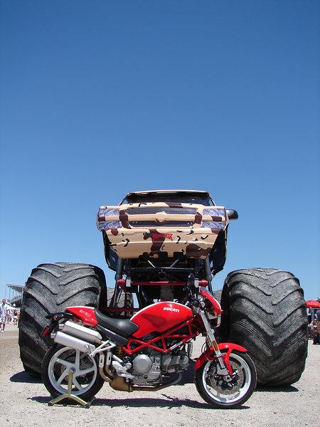 Monster bike meets Monster Truck. Perfect.