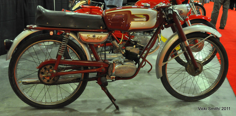 1954 Ducati Sport 48, really nice.  It sold for $3600 plus auction fees which were a lot less at MidAmerica than Bonhams