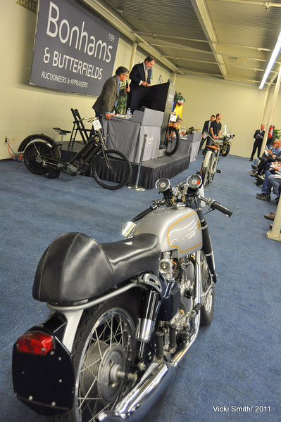 Bonhams is quite the British show, not the bikes, the demeanor. That's Alan DeCadenet on the podium.