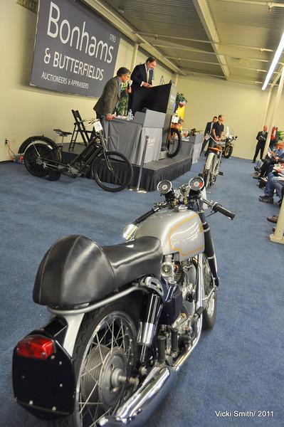 Bonhams is quite the British show, not the bikes, the demeanor. That's Alan DeCadenet on the podium.