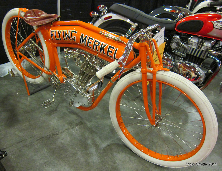"This beyond beautiful Flying Merkel was made from pieces, may new which made it a ""replica"".  It's asking price was just over $50,000 and it was still for sale at the end of the day on Saturday when the sale ended.  It was easily one of the most beautiful bikes in the room"