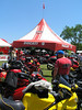 Amidst a sea of Ducati motorcycles filling the parking area.