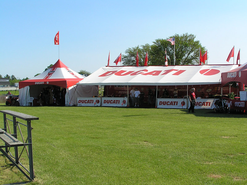 Looking towards the Ducati motorcycle display area (center), and the Corse Superbike accessory display (left).