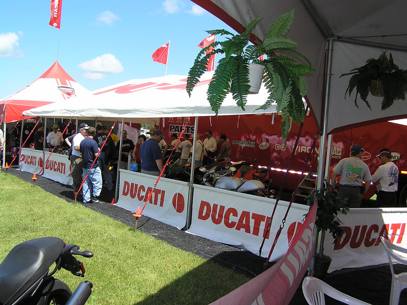 Alot of interest in the new Ducati motorcycles.