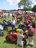 The parking lot became an ongoing bike show, with a range of models and years of Ducati represented.