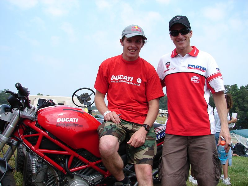 Chris Pfeiffer and Neil Hodgson at the Ducati NA hospitality area