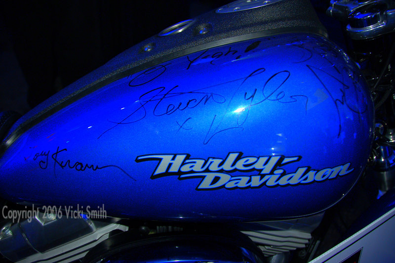 This Harley was signed by all the members of the band Aerosmith and was the evenings raffle prize