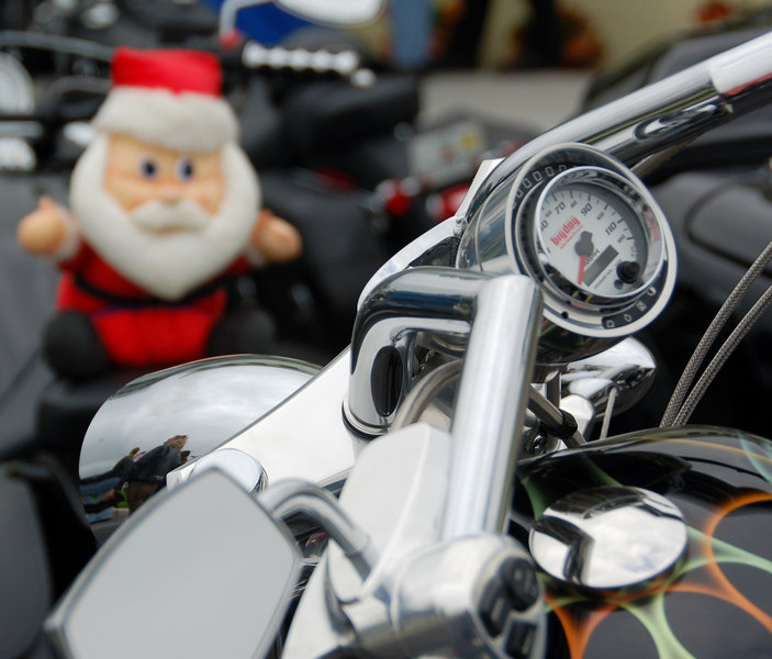 Each biker brings a new, unwrapped toy.  They collect them at the park on Sunday, this one is along for the ride all weekend.