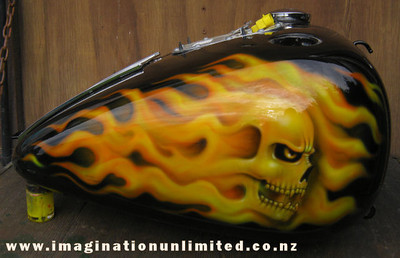 Flaming Skulls Bike