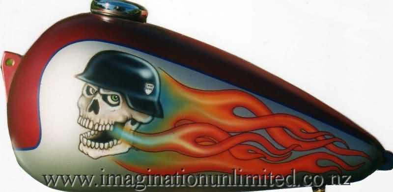 flaming helmet skull