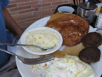Sweet potato pancakes and grits