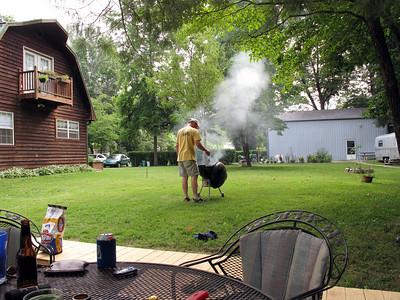 Dan cooking chicken.