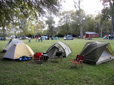 Camping under the live oaks.