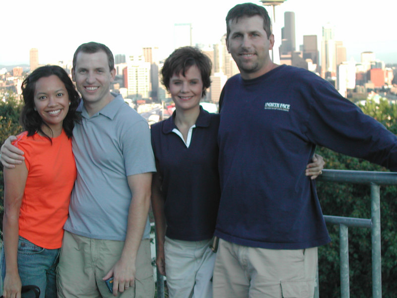 Our good friends Brian & Maria Heidi & me.