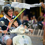 July 10, 2014 - Motorbike Ribbon Race (Carrer den cintas) down calle Marques de Campo in Denia, Spain during the 2014 Festa Major in honor of Santissma Sang (Most Holy Blood).