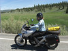 emily riding along state route #7, near camp creek and whitney, oregon
