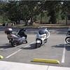 Geoff (Vespa 250), Karenina (Suzuki Burgman 650), Joe (Suzuki Burgman 400) and Rachael (BMW F650GS) at Pio Pico Park -- © Karenina