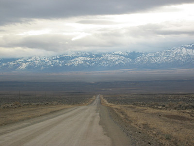 Looking south at Surprise Valley, Middle Alkali Lake (dry) and the Warner Mountains.